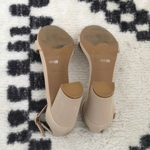 """BAMBOO Shoes - 3"""" nude open toe ankle strap block heels 7.5"""